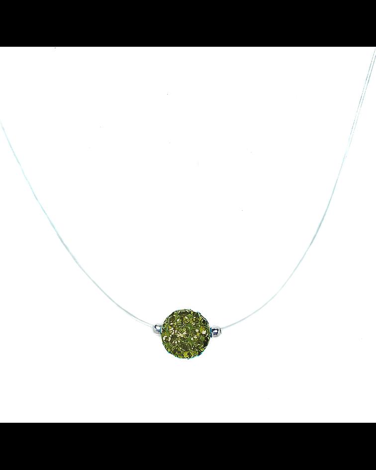 Collar Invisible Bola De Fuego Verde 8mm Plata Fina 925 45cm
