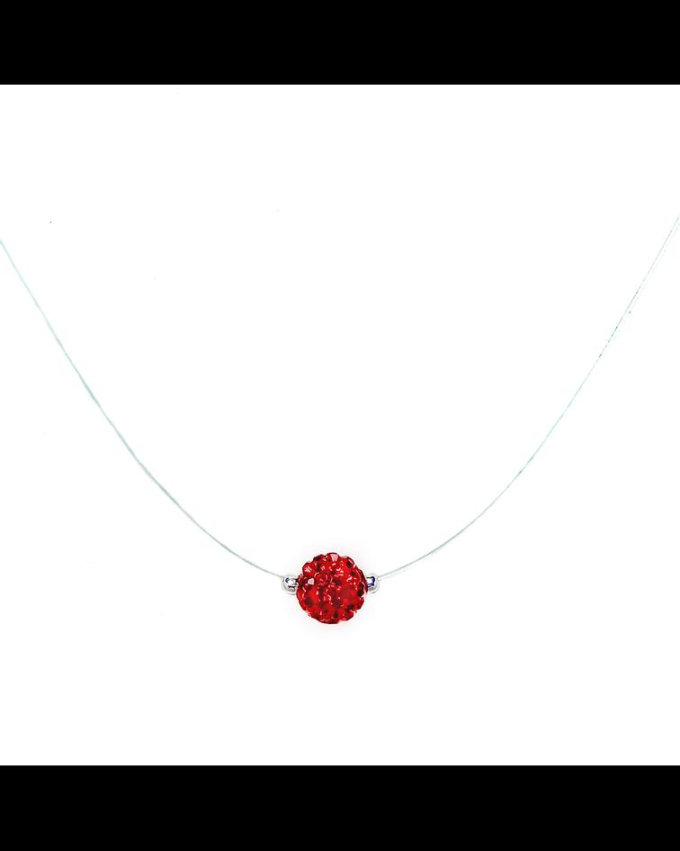 Collar Invisible Bola De Fuego Rojo 8mm Plata Fina 925