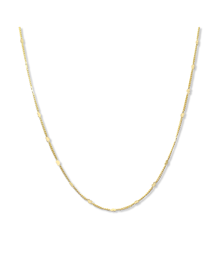 Collar Choker Mini Corazones Cadena Enchapado Oro 18 K 38cm