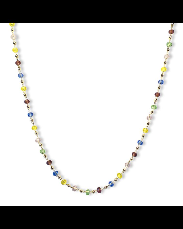 Collar Choker Cristales Enchapado  Oro 18 K 38cm