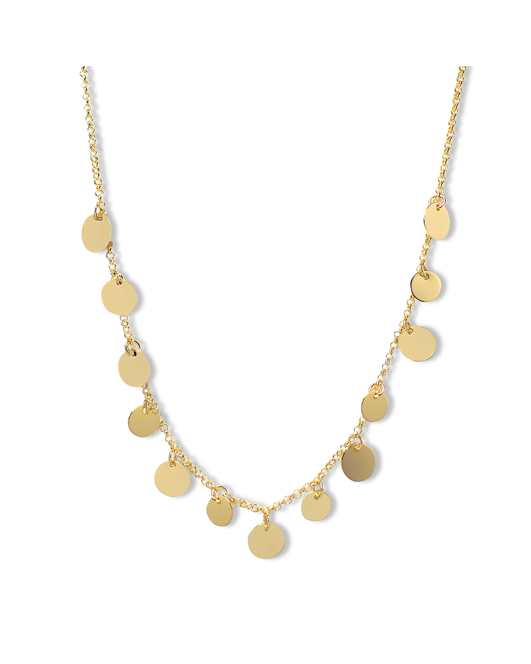 Collar Choker Discos Enchapados Oro 18 K 42cm