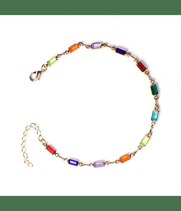 Pulsera Cristales Colores Engastados Enchapado Oro 18 K