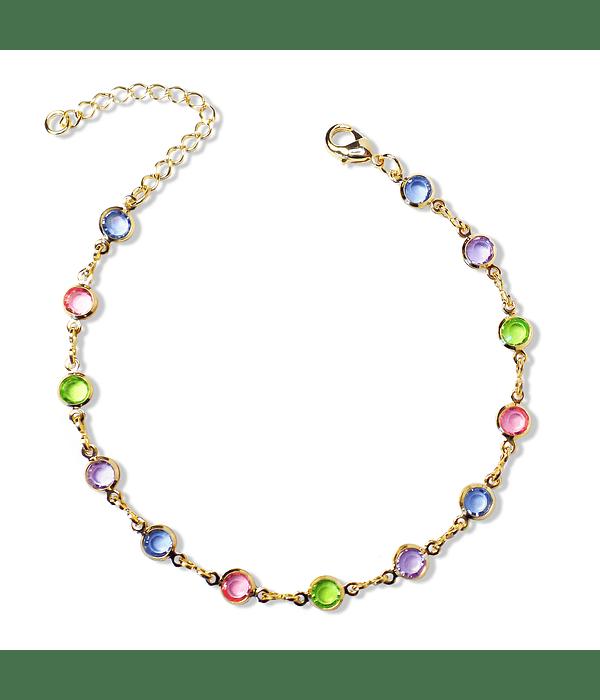 Pulsera Cristales Colores Cadena Enchapada Oro 18K