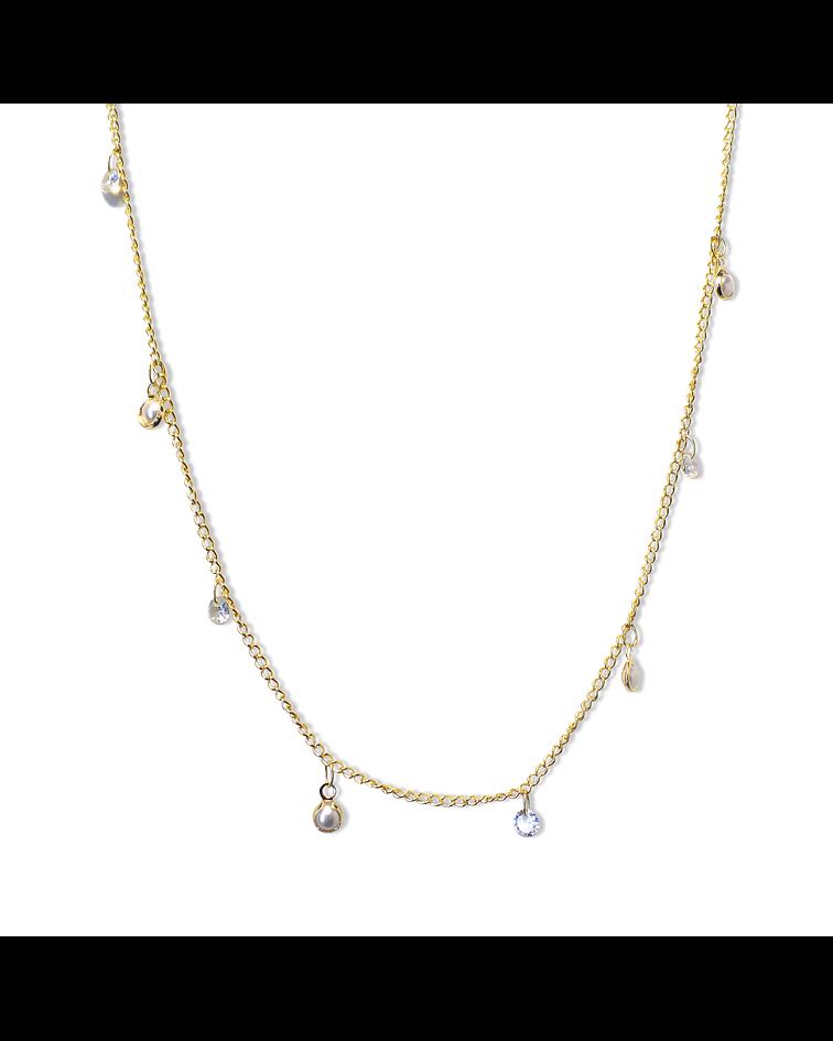 Collar Choker Perlitas Sintéticas Circones Enchapada Oro 18K 42cm