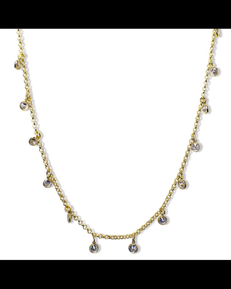 Collar Choker Circones Cadena Enchapada Oro 18K 41cm