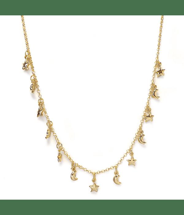 Collar Choker Chiches Estrellas Lunas Enchapado Oro 18 K 42cm