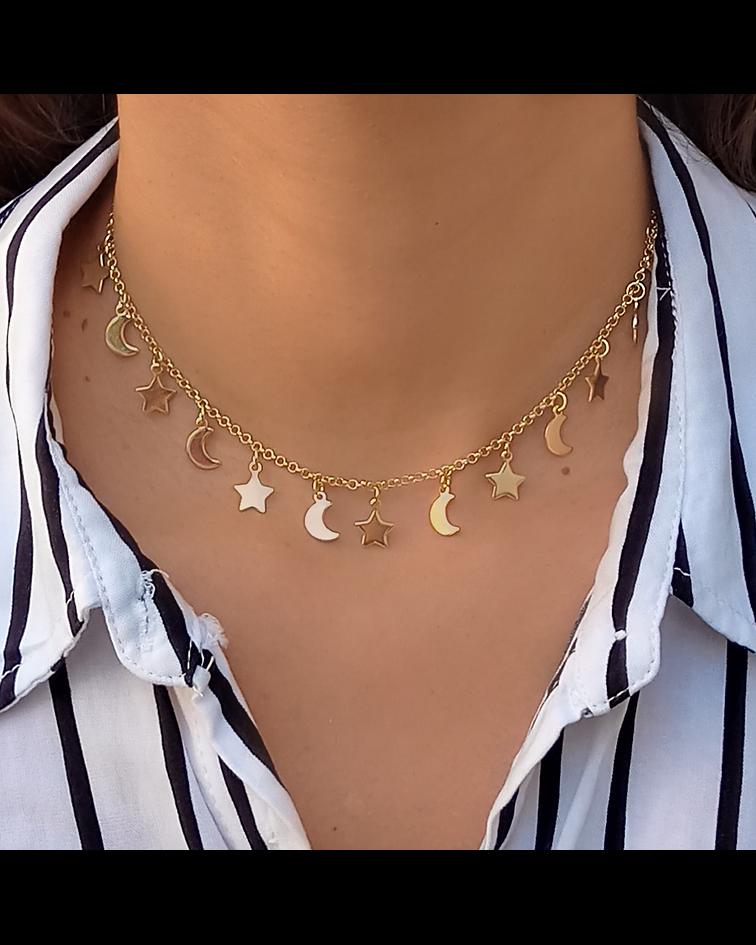 Collar Choker Lunas Estrellas Enchapado Oro 18K 42cm