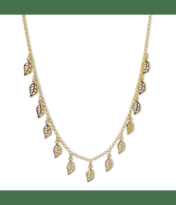 Collar Choker Hojas Caladas Enchapado Oro 18K 42cm