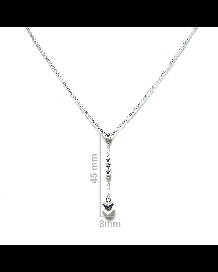 Collar Corazón 4 Pelotitas Plata Fina 925 43cm
