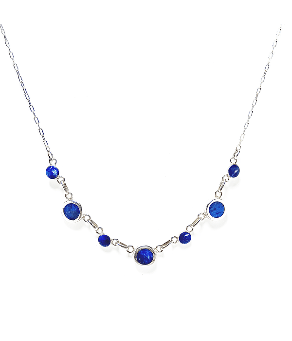 Collar Peto Círculos Lapislázuli Plata Fina 950 50cm