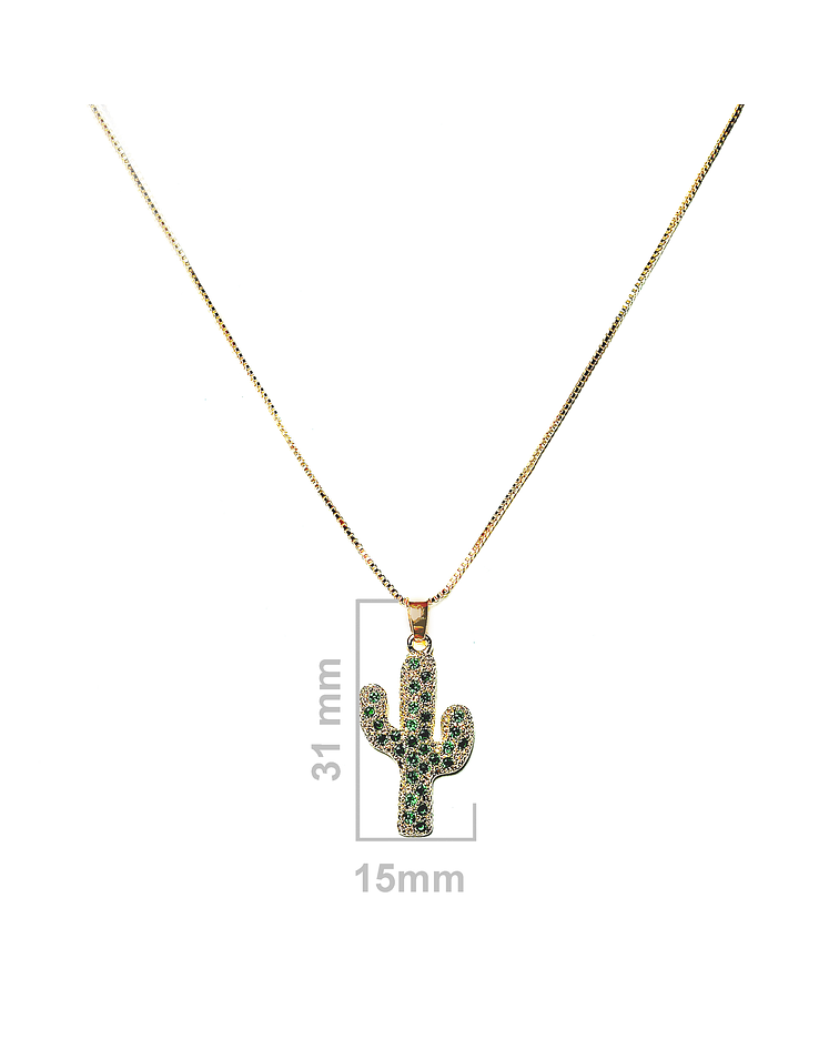 Collar Cactus Circón Verde Enchapado Oro 18 K 45cm