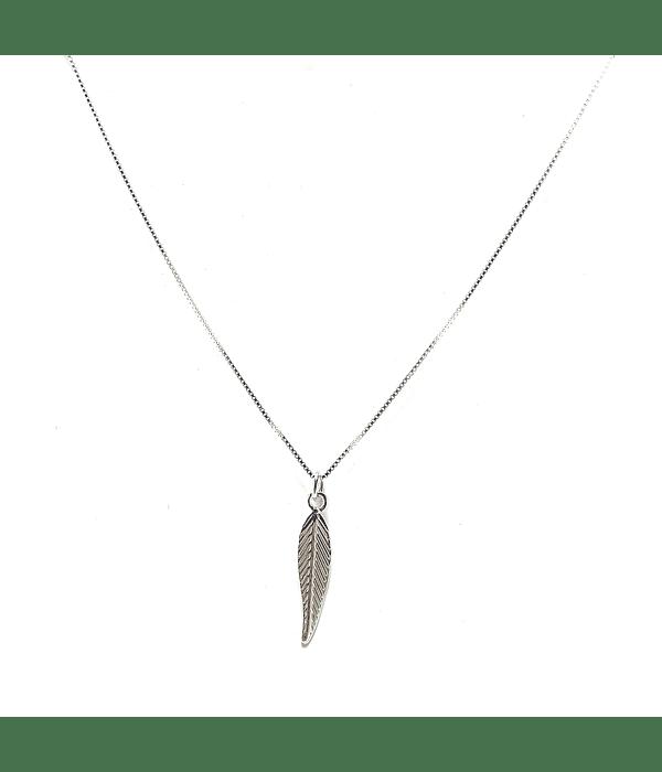 Collar Pluma Plata Fina 925 45cm