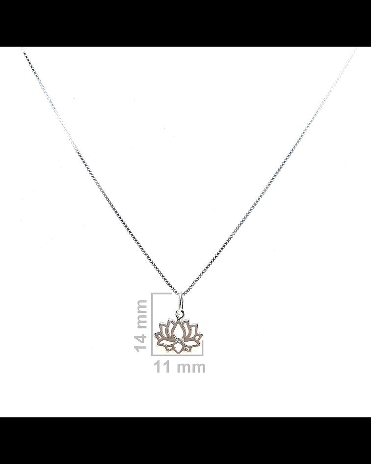 Collar Flor De Loto Pequeño Plata Fina 925 45cm