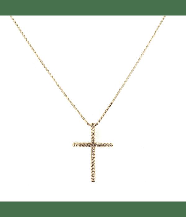 Collar Cruz Circones Blancos Enchapado Oro 18 K 45cm