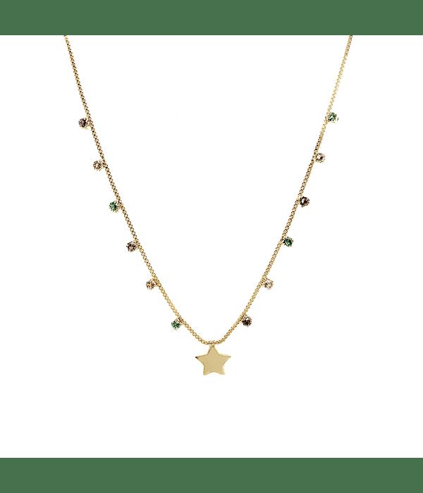 Collar Circones Colores Estrella Enchapado Oro 18 K 50cm