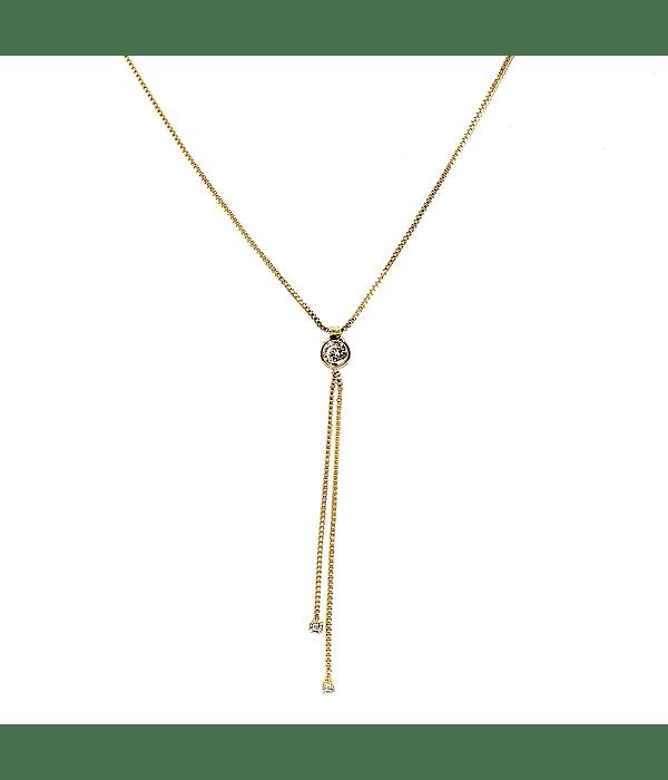 Collar Corbatero Circón Enchapado Oro 18 K 50cm