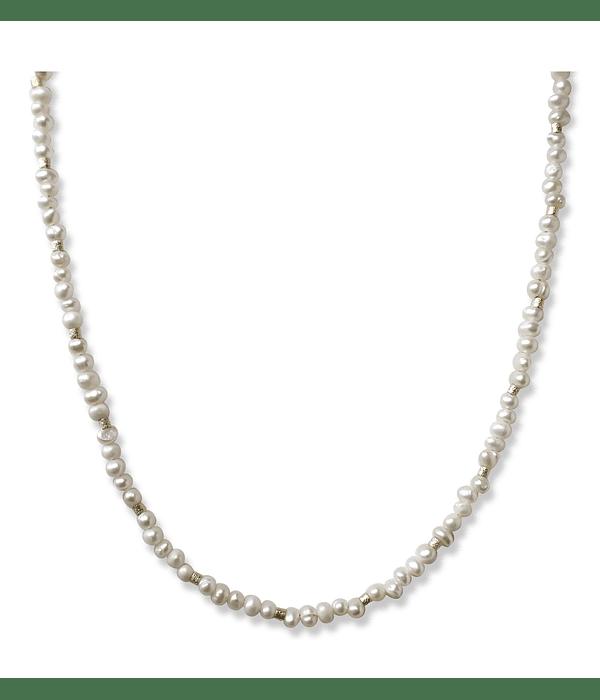 Collar Perlas Río Mostacillas Enchapada Oro 18 K 45cm