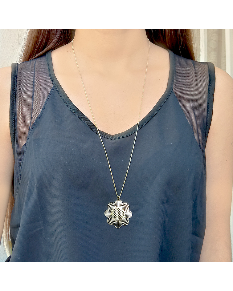 Collar Flor Enchapado Oro 18 K 70cm