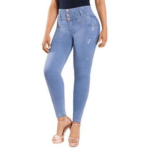 Jeans Colombiano Con Control de Abdomen Celeste New Rodivan