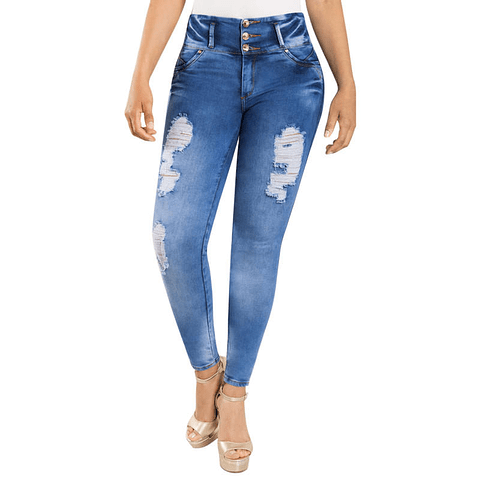 Jeans Colombiano Control de Abdomen Celeste 2020 New Rodivan