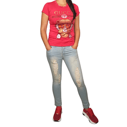 Polera Mangas Cortas Gucci Roja Play Girls