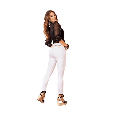 Jeans Colombiano Con Control de Abdomen 1333 Blanco Bartolomeo