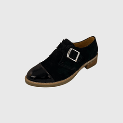 Zapato de Cuero Gamuza Con Hebilla Negro Ángel Jeans