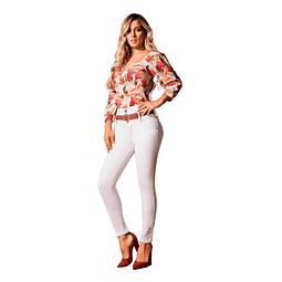 Jeans Colombiano Control Abdomen 1364 Blanco Bartolomeo