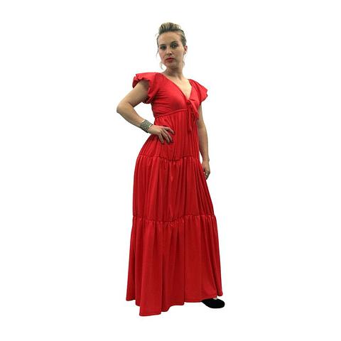 Vestido Largo Colombiano Tropico Rojo Bartolomeo