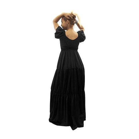 Vestido Largo Colombiano Tropico Negro Bartolomeo