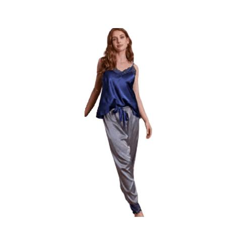 Pijama Satin Largo 8510 Azul Baziani