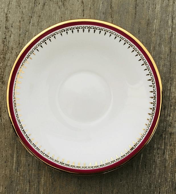 Francia, Burdeo y Oro, platillo de café, 12,7 centímetros