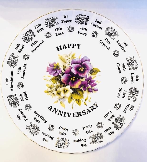 """Royal Stuard, Inglaterra, plato decorativo """" Happy aniversary"""", 1950's"""