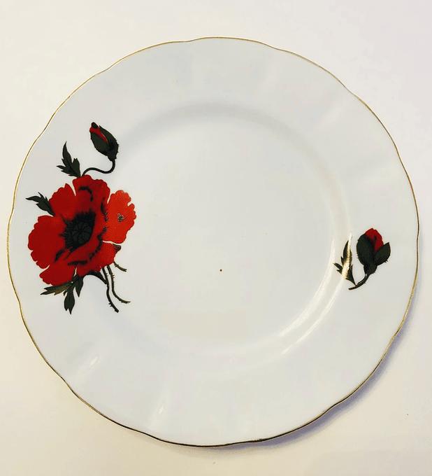 """Rumania, """"Amapolas"""" plato de torta, 16 cm"""