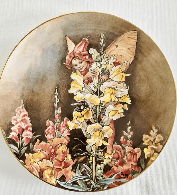 Border Fine Arts, Inglaterra, 'The snapdragon fairy' (El hada de la flor boca de dragón),  plato de colección numerado, 1987