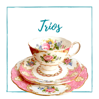 Trios: taza, platillo & plato de pan