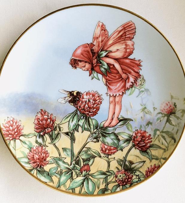 Gresham, Inglaterra, 'The Red Glover  Fairy' (El hada de la glover roja), plato numerado de colección, 1989