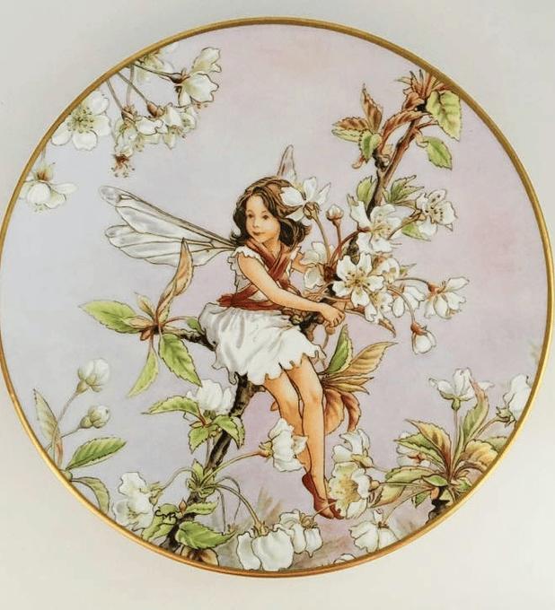 Gresham, Inglaterra, 'The wild cherry blossom fairy' (El hada de la flor del cerezo salvaje), 1989, plato numerado y con certificado