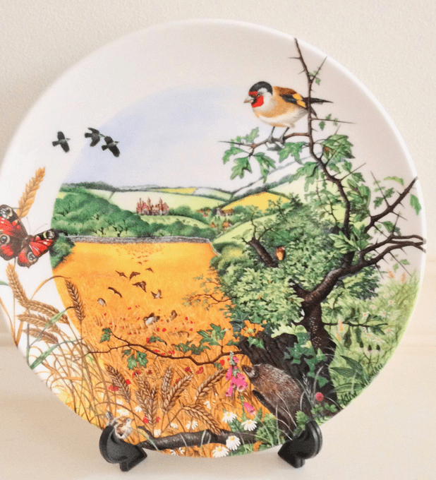 Wedgwood, Inglaterra, serie 'Colin Newman's Country Panorama', 'The village in the valley', plato 21 cms, numerado, 1987