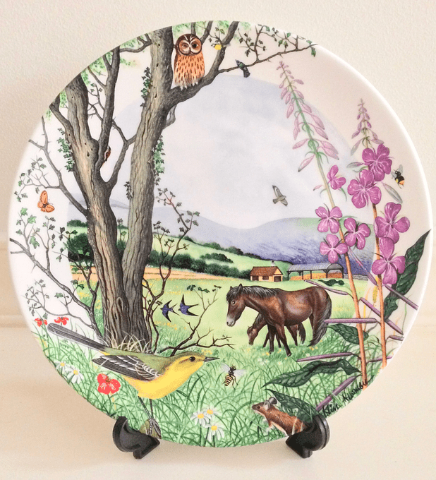 Wedgwood, Inglaterra, serie 'Colin Newman's Country Panorama', 'The Hayfield', plato 21 cms cms, numerado, 1988