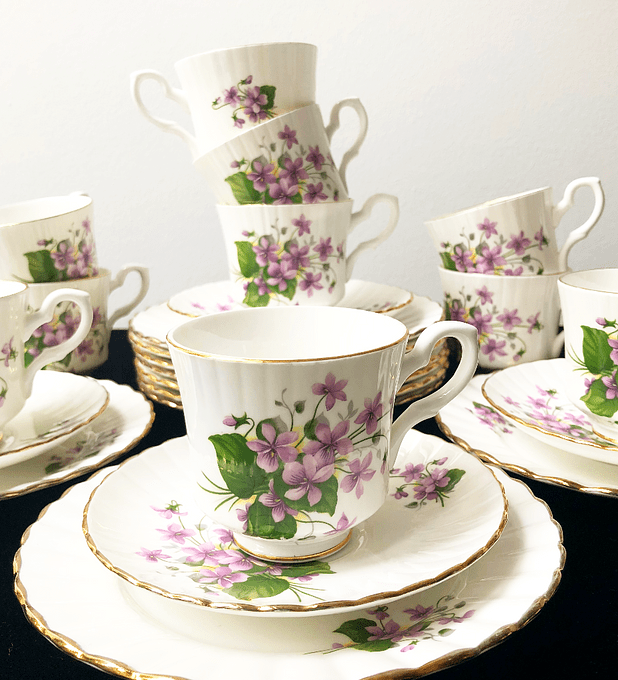 Royal Stafford, Inglaterra, set de café 'Violetas', 1950's - 1960's