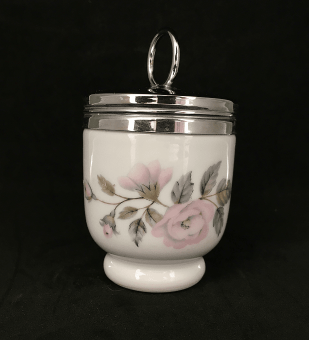 Royal Worcester, Inglaterra, Egg Coddler para 1 huevo,  'June Garland', 1960-90