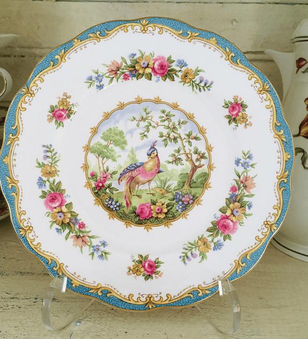 "Royal Albert, Inglaterra, ""Chelsea bird "", plato de torta 16 cm, 1941-1981"