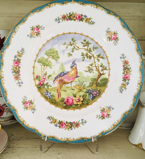 "Royal Albert, Inglaterra, ""Chelsea bird "" plato para torta, 26 cm, 1941-1981"