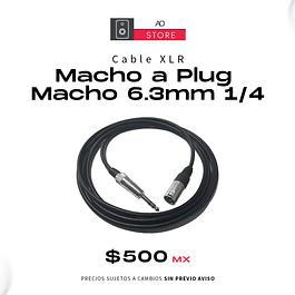 Cable XLR Macho a Plug Macho 6.3mm 1/4 (Para Monitor a Interface de Audio) 3 Metros