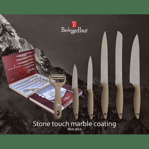 Set de cuchillos de 6 piezas con recubrimiento de mármol