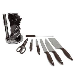 Set de cuchillos de 8 piezas con atril Café