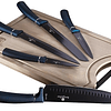 Set de cuchillos de 6 piezas azul marino con tabla de cortar de bambú