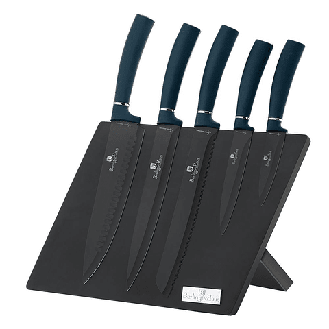 Set de cuchillos de 6 piezas con soporte de madera magnético azul marino