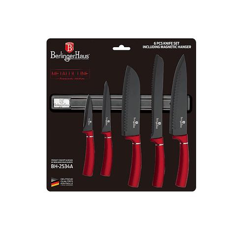 Set de cuchillos de 6 piezas mango rojo